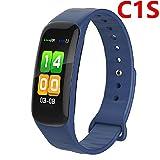 HST Smart Armband C1S Farbe Bildschirm Wasserdicht ArmBand Herzfrequenz Monitor Blutdruckmessung Fitness Tracker Band, blau