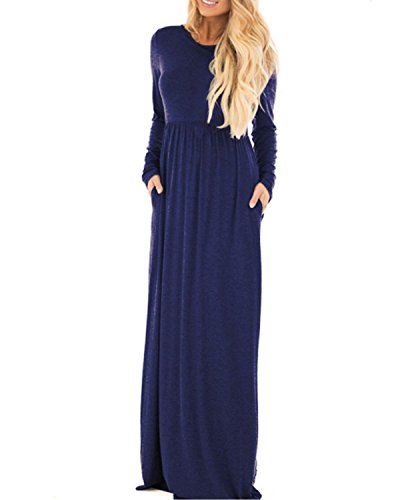 StyleDome Damen Langarm Kleid V/O Ausschnitt Lose Casual Einfarbig Oversize Pullover Swingkleid Lange Mini Maxi Kleider Blau803365
