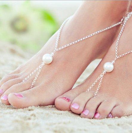 aukmla Fußkettchen und Zehen Ringe Für Frauen Hot Summer Beach New Fashion Barfuß Sandale Fuß Kette (Kleid Sandalen Zehenring)