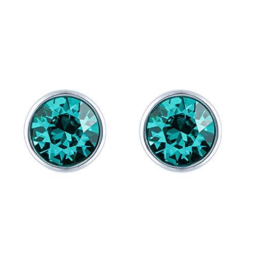 Sywin Herren Unisex Damen -  925 Sterlingsilber  Sterling-Silber 925 Brilliant Rund   Green Kristall