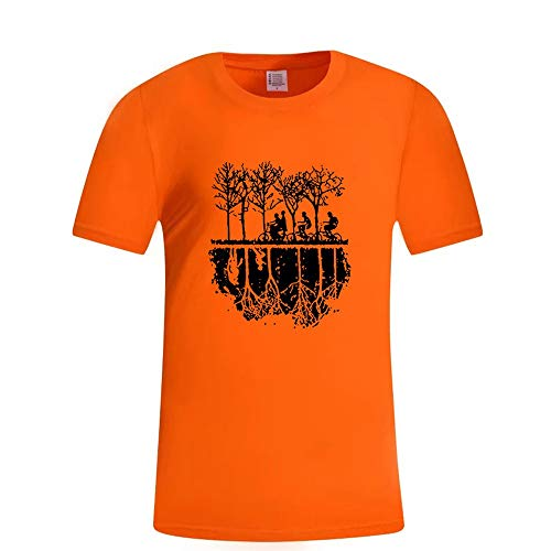 Men\'s 3D Printed Short Sleeve Crew Top T-Shirts Forest Shadows Printed Graphic Casual Summer Cotton Tees Orange XXL