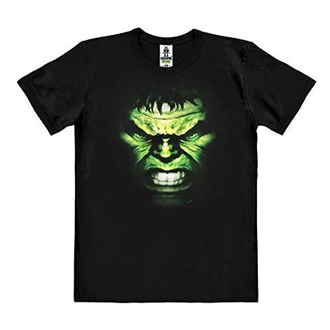 Marvel Comics - Hulk Face T-Shirt Organic Herren - schwarz - Bio Baumwolle - organic cotton - Lizenziertes Originaldesign - LOGOSHIRT, Größe (Herr Unglaubliche Kostüm-t-shirt)