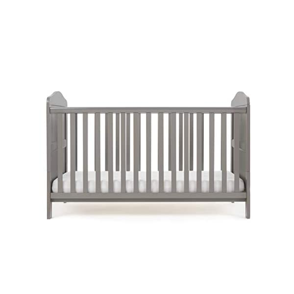 Obaby Whitby Cot Bed, Taupe Grey Obaby Adjustable 3 position mattress height Bed ends split to transforms into toddler bed Protective teething rails along both side rails 4