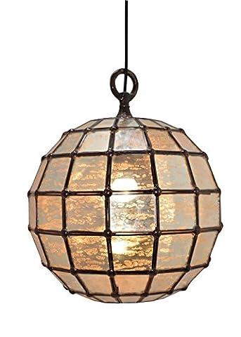 New Buyer Bazaar Handmade Vintage Stressed Glass Pendant Ball, Modern Ceiling Light Decorative Indoor Globe, E27, 60 Watts, LED