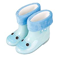 LYXFZW,Rain Boots For Kids,girls,Rubber Wellington Boots Children With Soft Plush Warm Socks Cute Waterproof Non-Slip Boys Easy Wipe Blue Frog Removable For Outdoor School Garden