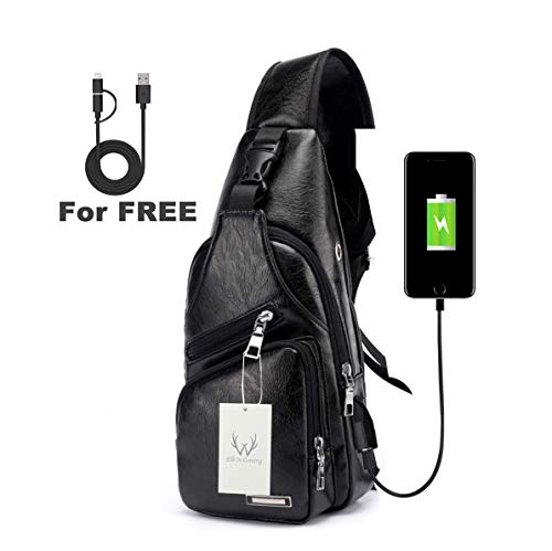ElkIsComing Sling Bag Brust Tasche mit USB Ladeanschluss Umhängetasche PU-Leder für Männer Frauen Leichter Wandern Reisen Rucksack, Schwarz
