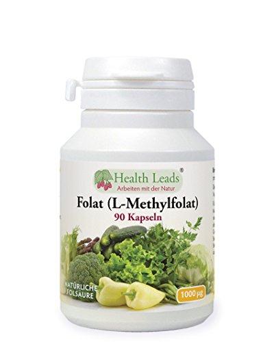 folsaeure metafolin Folat 1000mcg x 90 Kapseln (Ohne Magnesiumstearat)