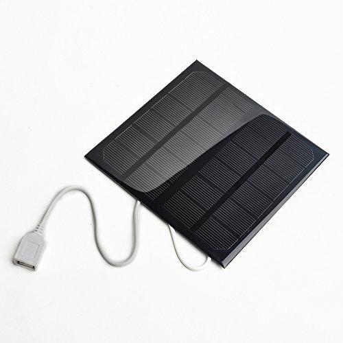 Cargador Solar, 6v 3w 580-600MA Panel Solar USB Cargador de Batería Solar USB Ventilador Externo Pack para iPhone, iPad, MP3 MP4 PDA
