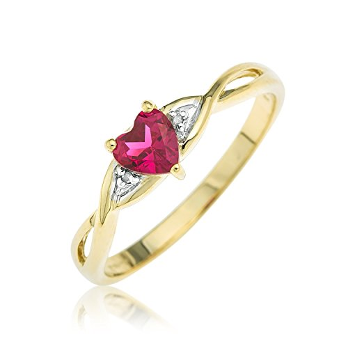 Kareco 9ct Yellow Gold Created Ruby And Diamond Ring – Size M