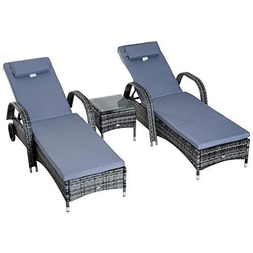 Outsunny Sonnenliege Gartenliege Tisch 3er-Set Gartenmöbel Polyrattan + Metall Grau höhenverstellbar
