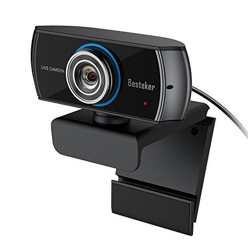 Webcam 1080P Besteker, Cámara Web Full Hd con Micrófono Incoporado para PC, Ordenador y Laptop