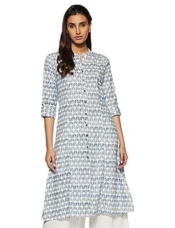 Rangmanch by Pantaloons Women's Cotton a-line Kurta (110050216_Indigo_Small)