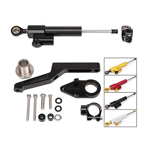 QQJK Für Kawasaki ZX-6R, Lenkungsdämpfer-Steuerhalterungs-CNC-Kit für Motorräder, Stabilisatorlineare umgekehrte Sicherheit,Black