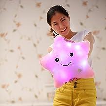 Vktech® 8pcs sueño colorido Glow LED luminoso luz almohada cojín con reproductor de música y altavoces, algodón, Star I