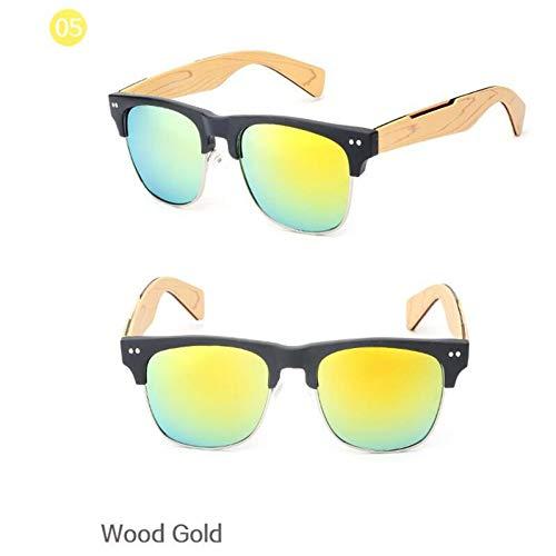 GJYANJING Sonnenbrille Retro Imitieren Bambus Holz Sonnenbrille Männer Frauen Brille Gold Spiegel Sonnenbrille Shades