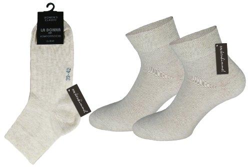 Damen Kurzschaft Socken Quarter-Socken 6er Pack aus Baumwolle mit Komfortbund ohne Gummi (35-38, Creme)