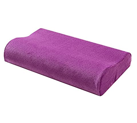 Memory Foam Pillow Contour Curve Neck Pillow Supporting Buffer Head Shoulders Relax Contoured Bed Pillow for Neck Pain and Side Sleepers Purple 50 cm×30 cm×10 cm
