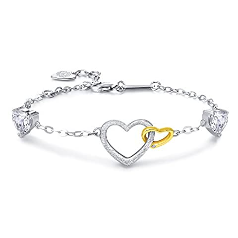 Billie Bijoux 925 Sterling Silver Two Linked Gold plated Heart