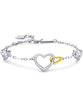 Billie Bijoux 925 Sterling Silber Zirkonia Armband Doppelten Herzen Charms Armbänder Verstellbar