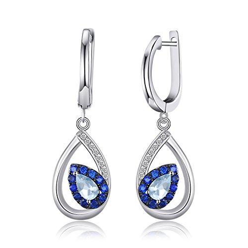 JewelryPalace Moda 1.5ct Genuino Cielo Blu Topazio Orecchini Pendenti Argento Sterling 925
