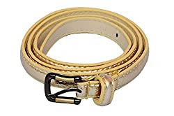 SRI Womens Causal Waist Belt With Designer Buckle - Golden