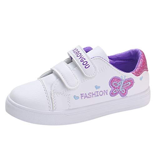 HDUFGJ Unisex-Kinder Sneaker Freizeitschuhe Flache Schuhe Schuhe Nette Baby Mädchen Stiefel Leichtgewicht Laufschuhe Faule Schuhe Turnschuhe Fitnessschuhe stiefeletten28 EU(Lila)