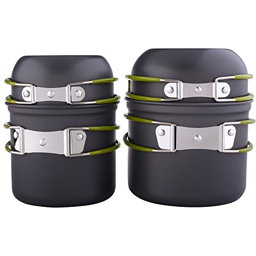 Forfar Picnic Pot Pan Cookware 4PCS Outdoor Cooking Set For Camping Hiking Backpacking