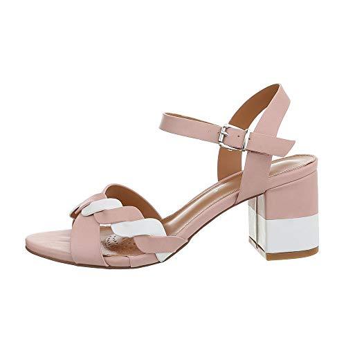 Ital-Design Damenschuhe Sandalen & Sandaletten High Heel Sandaletten Synthetik Rosa Weiß Gr. 38