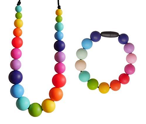 Baby Zahnungshilfe Perlen Halskette und Armband Set aus Silikon im Regenbogen Design - Geschenk für Schwangere mit Stillen Kette und Stillen Armband - in Handarbeit gefertigt von MilkMama