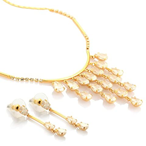 14K Gold or Silver Rhodium Plated Dangling Earrings and Necklace