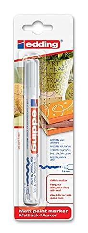 edding 4000 Matt-Lack-Marker - Weiß - 1er Blisterkarte - Für seidenmatte Gestaltungen, z.B. auf Terrakotta, Holz,