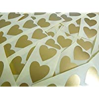 60 Labels , 28x28mm Hearts , Matt Gold , Colour Code Stickers , Self-Adhesive Sticky Coloured Hearts