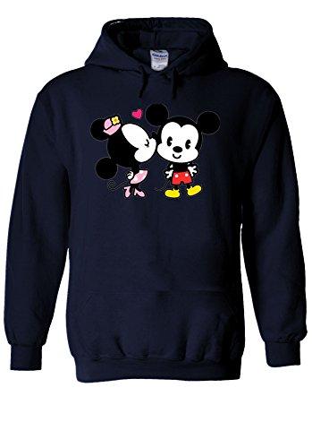 Minnie And Mickey Mouse Cute Kiss Love Novelty Navy Men Women Unisex Hooded Sweatshirt Hoodie-XXL