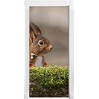 scoiattoli cattivi dietro tronco d'albero come Murale, Formato: 200x90cm, telaio della porta, adesivi porta, porta decorazione, autoadesivi del portello