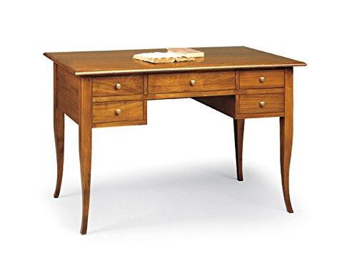 Lo scrigno arredamenti, scrivania/scrittoio 5 cassetti piano legno tinta noce w110nb