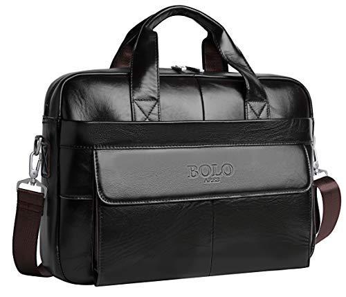 BOLO 13 14 pollici Cartella per laptop fatto a mano Pelle ventiquattrore Spalla aziendale Borsa da lavoro (Caffè profondo-BP)