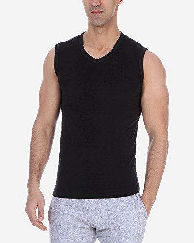 Solo®, muscle t-shirt für Herren, Slim-fit, elastische mit V- Ausschnitt - Herren Business Unterhemd, Komfortabel und sehr weich Tank Top. sportliche Freizeit Outfit. Black