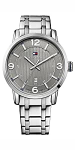 Tommy Hilfiger 1710345 - Reloj de cuarzo para hombre, con correa de acero inoxidable, color plateado