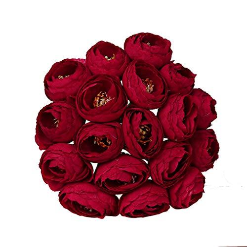 Wozow fiori artificiali,fiori finti,bouquet di rose di cristallo,damigella d'onore,bouquet da sposa,sposa fiore di seta artificiale 1 pezzi rosso