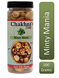 Chakhna Shot Minty Mania Flavour Jar – Pass time Snack – Ready to Eat Premium Healthy Indian Spicy Snack Mix – Masala Cashew Nuts, Peanuts and Foxnuts Mix Jar 100g (Pack of 1)