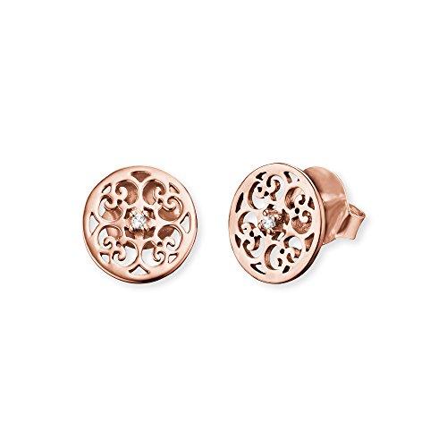 Engelsrufer Ornament Ohrstecker für Damen Rosévergoldet 925er-Sterlingsilber Weiße Zirkonia Größe 13 mm