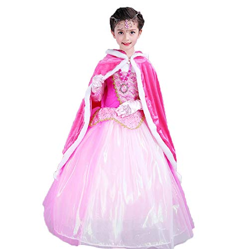 Kids Girls Sofia Anna Hooded Cape Cloak Faux Fur Jacket Coat Party Outfit Fancy Dress Snow Queen Princess Costume Cosplay Robe 4-9 ()