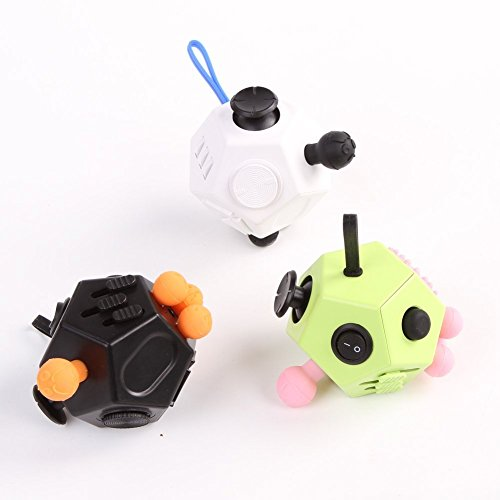 Haehne Fidget Cube II Toy, with Active Rocker Fidget Anxiety Stress Relief Focus 12 Sides Dice Toys for Adults Children Gadget (Black) -
