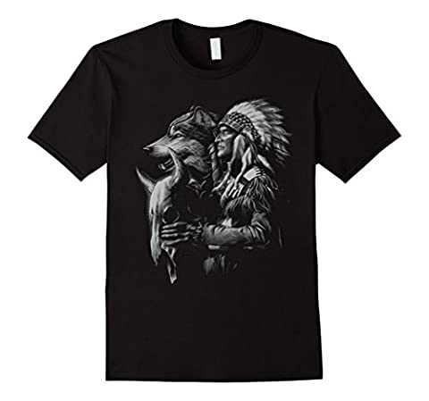 Men's Spirit Native American Cultures Graphic Design T-shirt Large Black