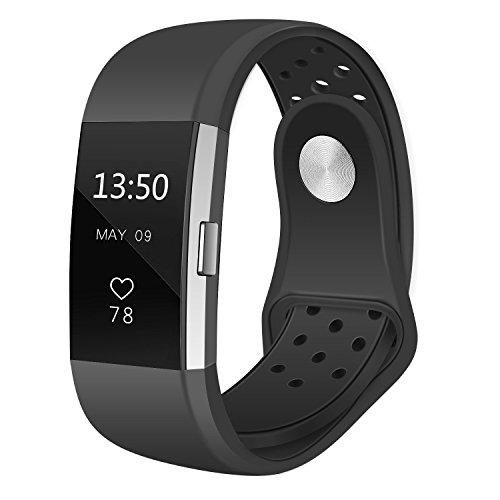 Fitbit Charge 2 Armband ,Silikon Weiches Uhrenarmbänder Sport Armbänder Accessories / Verstellbares Fitness Armband für Fitbit Charge 2 Ersatzarmbänder , Schwarz