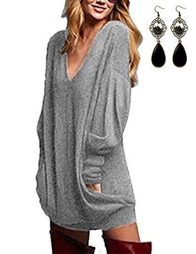 Sitengle Donna Bluse a Maniche Lunga V-Collo T-shirt Sciolto Maglia Lunga Camicia Camicetta Tunica Tops