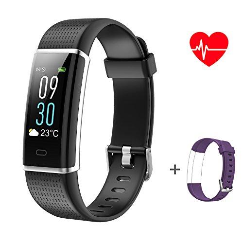ABOX Fitness Armband, mit Pulsmesser und Schlaf Monitor, 14-Sport-Modi und eingebautes GPS, IP68 Wasserdicht (Schrittzähler, Kalorienzähler, Schwimmen-Armband mit zusätzlichem Ersatzband)