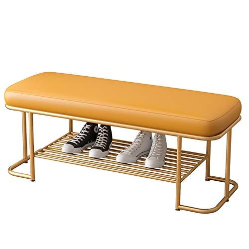 LJFYXZ Sitzbank Schuhschrank Moderne Schuhbank PU-Kissen Lagerregal aus Schmiedeeisen Für Schlafzimmer, Wohnzimmer, Flur stark und robust Tragfähigkeit 200kg Länge 80/100 cm