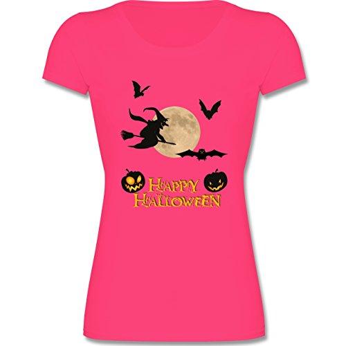 Shirtracer Anlässe Kind - Happy Halloween Mond Hexe - 140 (9-11 Jahre) - Fuchsia - F288K - Mädchen T-Shirt (Besen Hexe Flamme)