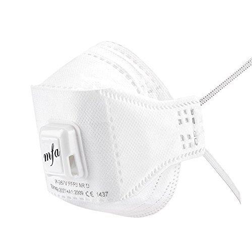 120x Atemschutzmaske FFP3 (120 Stk.) Profi Staub Schutzmaske Mundschutz Feinstaubmaske mit Ventil Einweg Weiß